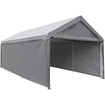 12 ft. W x 20 ft. D Dark Grey Roof Steel Carport