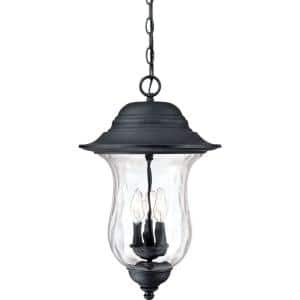3-Light Antique Iron Outdoor Pendant