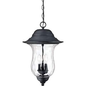 3-Light Antique Iron Outdoor Pendant