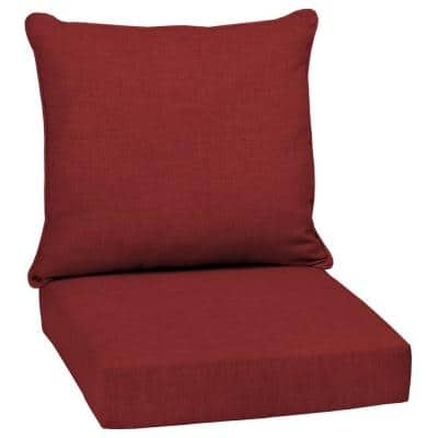 24 in. x 24 in. Ruby Leala Texture 2-Piece Deep Seating Outdoor Lounge Chair Cushion