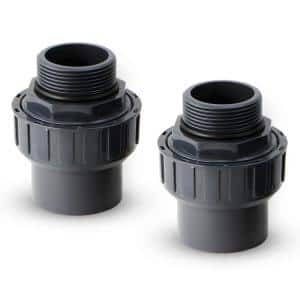 1.5 in. to 1.5 in. PVC MPT x Slip Socket Flush Union Fitting for Pool Pump (2-Pack)