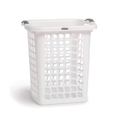 White Plastic Laundry Hamper with Portable Comfort Grip Handles