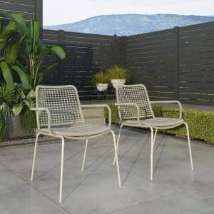 Rhine Gray Stacking Metal Outdoor Dining Chair (2-Pack)