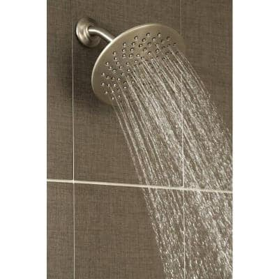 Velocity 2-Spray 8 in. Single Wall Mount Fixed Adjustable Spray Shower Head in Brushed Nickel