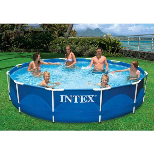 Intex 12 Ft Round X 30 In D Metal Frame Above Ground Pool With 530 Gph Filter Pump 28211eh The Home Depot