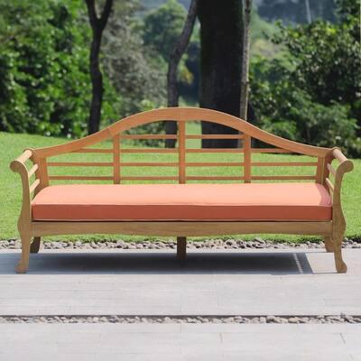 Lutyens Teak Wood Outdoor Daybed with Orange Cushion