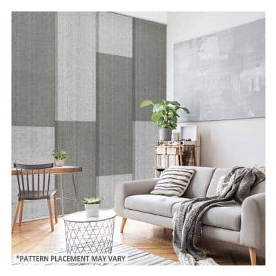London Suit Natural Woven Adjustable Sliding Window Panel Track with 23 in. Slates Up to 86 in. W x 96 in. L