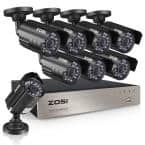8-Channel 1080p DVR Security Camera System with 8 Wired Bullet Cameras