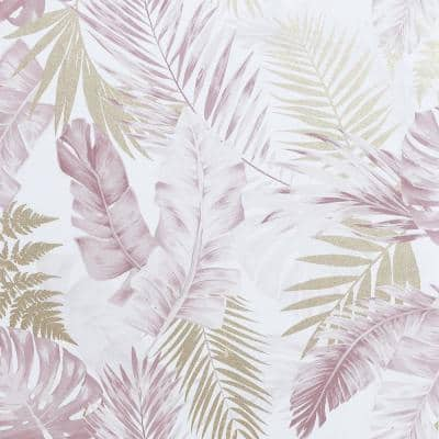 Soft Tropical Blush and Gold Peel and Stick Non-Woven Paper Wallpaper