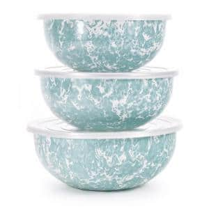 Sea Glass 3-Piece Enamelware Mixing Bowl Set with Lids