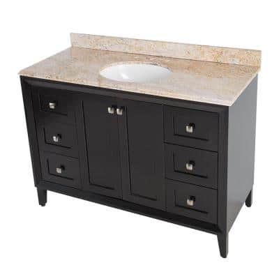 Austell 49 in. W x 22 in. D Vanity in Black with Stone Effects Vanity Top in Tuscan Sun with White Sink