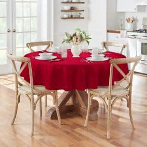 90 in. Round Poinsettia Red Elegance Plaid Damask Fabric Tablecloth