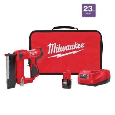 M12 12-Volt 23-Gauge Lithium-Ion Cordless Pin Nailer Kit with 1.5 Ah Battery, Charger and Tool Bag