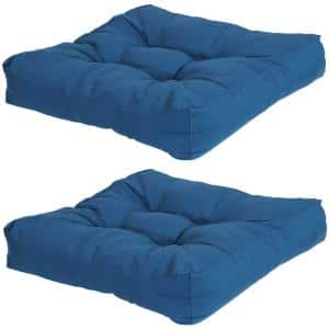 20 in. x 20 in. Blue Square Tufted Outdoor Seat Cushions (Set of 2)