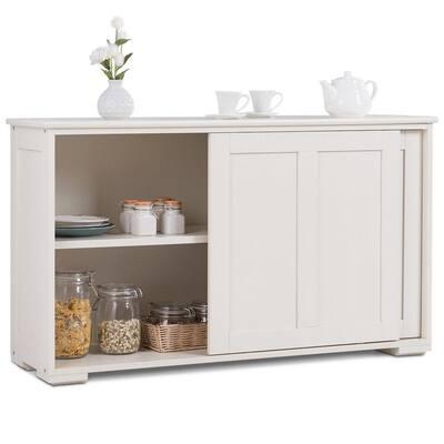 Cream White MDF Kitchen Storage Cabinet Sideboard Buffet Cupboard with Sliding Door