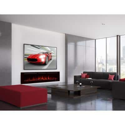 72 in. Recessed Wall Mounted Electric Fireplace Heater Smokeless in Black with Remote Control