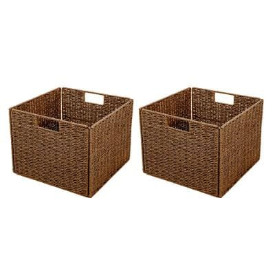 13 in. x 10 in. Foldable Storage Basket with Iron Wire Frame (Set of 2)