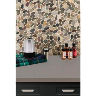 Mix River Rock 12 in. x 12 in. x 10 mm Tumbled Marble Mosaic Tile (10 sq. ft. / case)