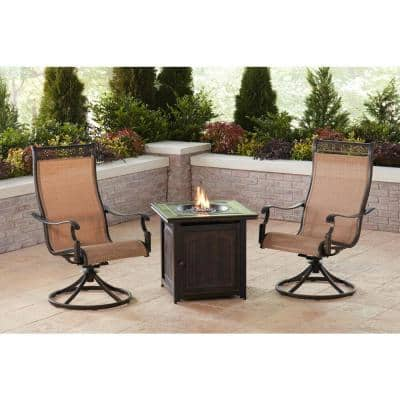 Monaco 3-Piece Aluminum Patio Fire Pit Conversation Set with Sling Swivel Rockers and Fire Pit Side Table