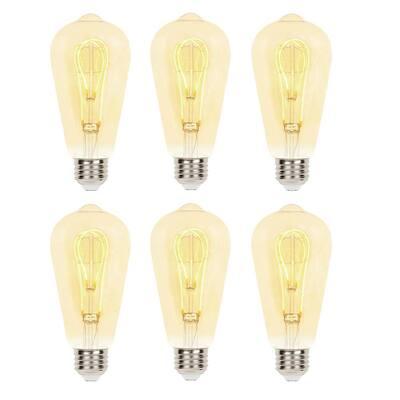 25-Watt Equivalent ST20 Dimmable 2000K Flexible Filament LED Light Bulb (6-Pack)