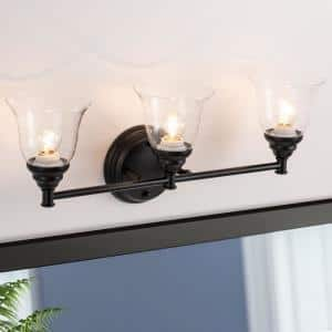 5.5 in. 3-Light Black Vanity Light with Clear Glass Bell Shades