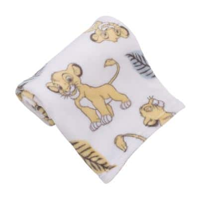 Lion King Super Soft White, Yellow, Green Simba Leaves French Fiber Polyester Baby Blanket