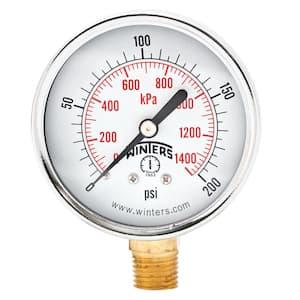 2.5 in. Black Steel Case Brass Internals Pressure Gauge with 1/4 in. NPT Bottom Connection and Range of 0-200 psi/kPa