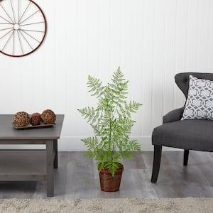 3 ft. Ruffle Fern Artificial Tree in Basket