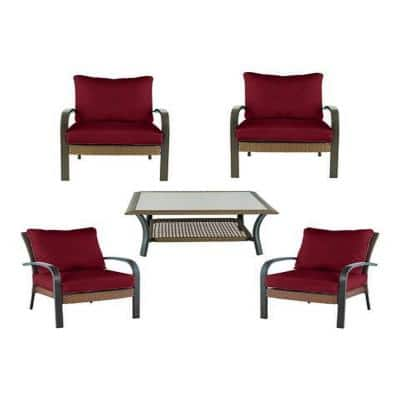 5-Piece Corranade Brown Wicker Outdoor Patio Conversation Set
