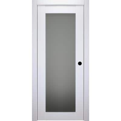 24 in. x 80 in. Smart Pro 207 Polar White Left-Hand Solid Core Wood 1-Lite Frosted Glass Single Prehung Interior Door