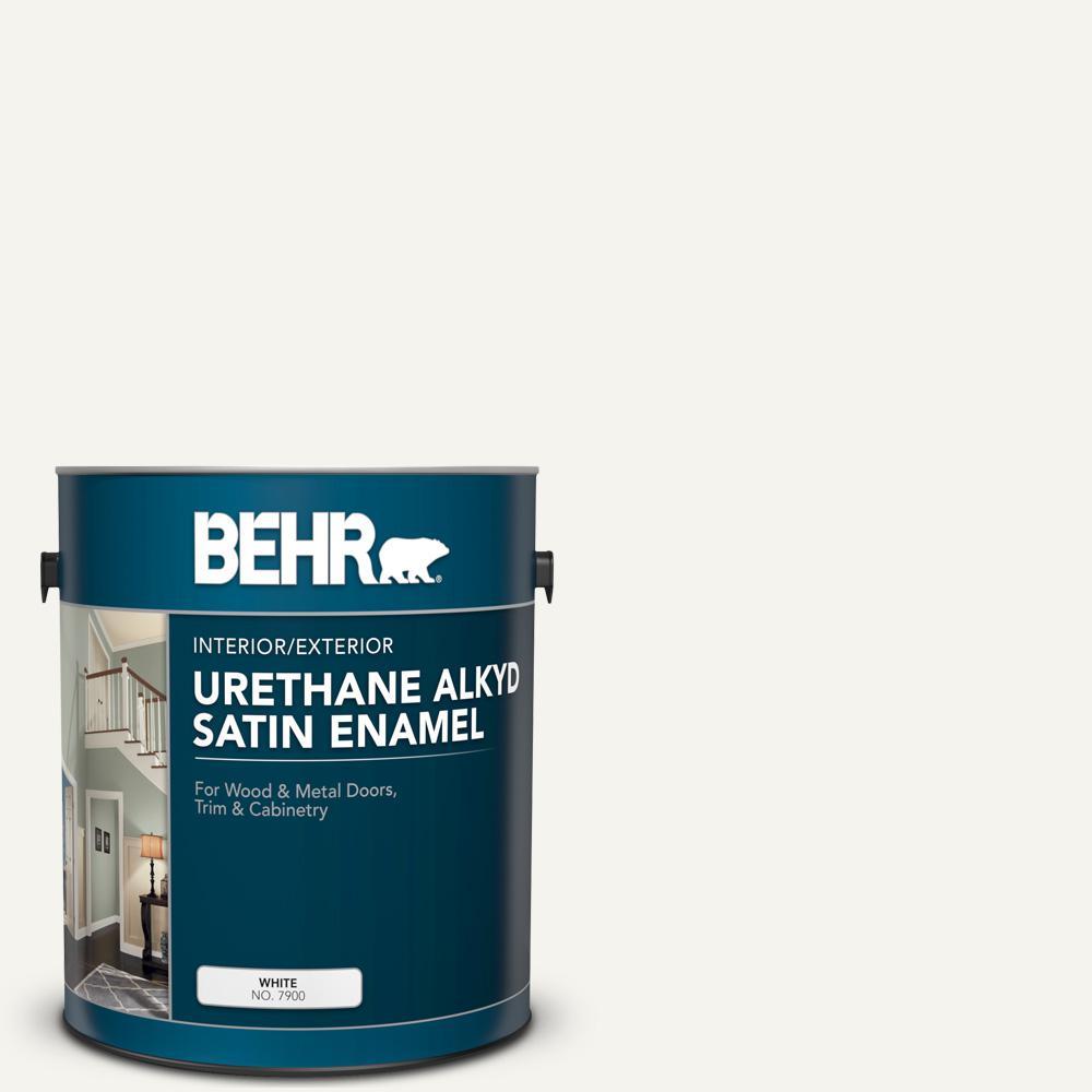 1 gal. #YL-W15 Polar Bear Urethane Alkyd Satin Enamel Interior/Exterior Paint