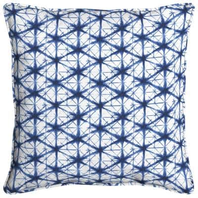Midnight Shibori Welted Outdoor Throw Pillow