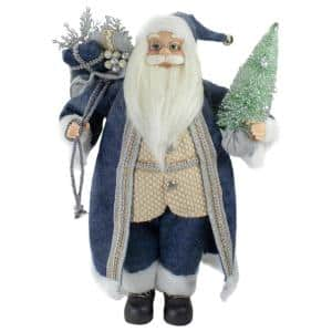 18 in. Standing Santa Christmas Figure with a Decorated Tree