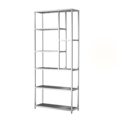 Himlind 90.5 in. Chrome Plating and Black Metal 7-Shelf Standard Bookcase