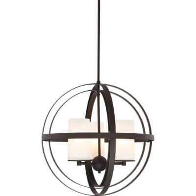 3-Light Antique Bronze Sphere Shaped Chandelier with Etched White Cased Glass Cylinder Shades