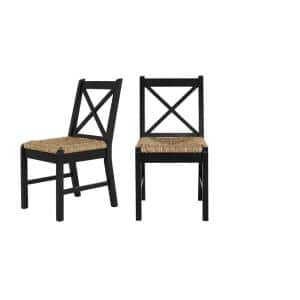 Dorsey Black Wood Dining Chair with Cross Back and Rush Seat (Set of 2) (17.72 in. W x 35.43 in. H)
