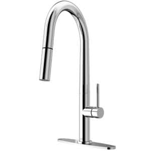 Greenwich Single-Handle Pull-Down Sprayer Kitchen Faucet with Deck Plate in Chrome