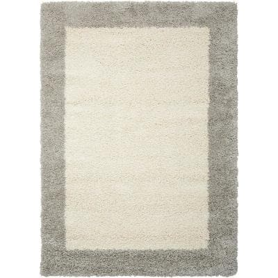 Amore Ivory/Silver 5 ft. x 7 ft. Shag Contemporary Area Rug