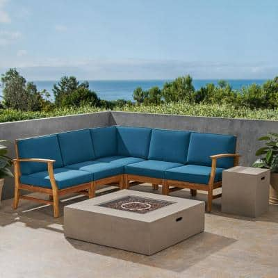 Illona Teak Brown 7-Piece Wood Patio Fire Pit Sectional Seating Set with Blue Cushions