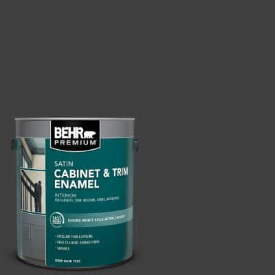 1 gal. #1350 Ultra Pure Black Satin Enamel Interior Cabinet and Trim Paint