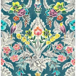 Summer Love Teal Multi-Color Wallpaper Sample