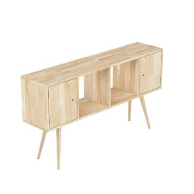 Freemont Natural Mid Century Modern Solid Wood Console Accent Cabinet with 2-Doors