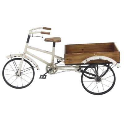 """Farmhouse Wood and Metal Tricycle Plant Holder, 48"""" x 24"""""""
