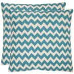 Tealea Chainstitch Blue Ra Striped Down Alternative 18 in. x 18 in. Throw Pillow (Set of 2)