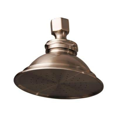 1-Spray 4.8 in. Single Wall Mount Fixed Shower Head in Brushed Nickel