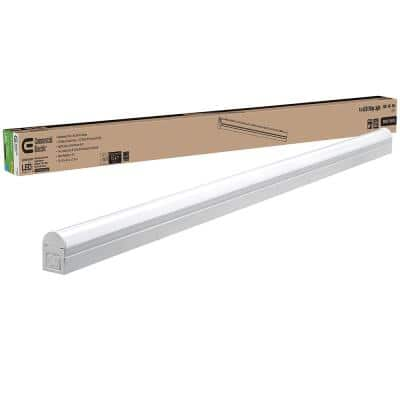 Plug In or Direct Wire Power Connection 4 ft. White 4000K Integrated LED Strip Light (with Power Cord and Linking Cord)