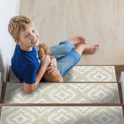 Tetra One Color Light Beige 9 in. x 28 in. Cotton Carpet Stair Tread Cover (Set of 13)