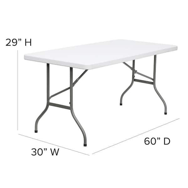 60 In Granite White Plastic Tabletop Metal Frame Folding Table Cga Flf 0423 Gr Hd The Home Depot