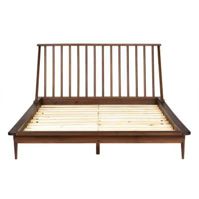 Solid Wood Modern Walnut Queen Spindle Bed