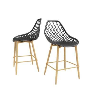 Kurv 25.5 in. Black/Natural Counter Chair (Set of 2)
